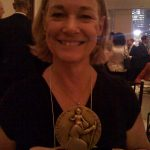At the Christopher Awards, holding my medallion for UNTIL OUR LAST BREATH