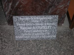 Marker of the spot under the floor of the Eglise de Saint Jacques in Luneville, where Emilie du Chatelet is buried